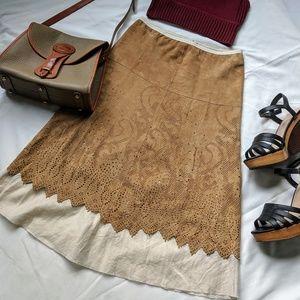 Dresses & Skirts - Vintage 90s Rozae Nichols Suede Linen Boho Skirt